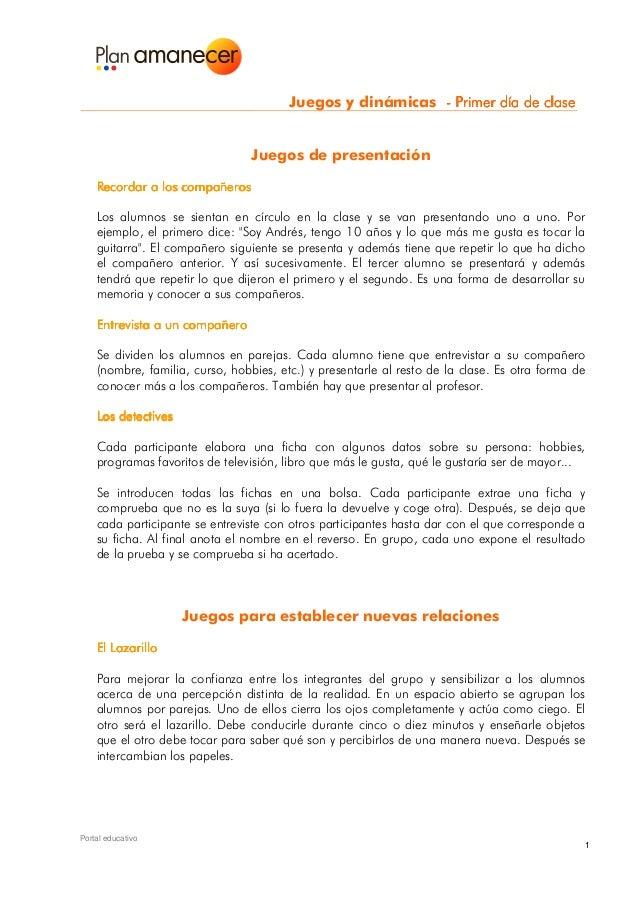 Juegos y dinámicas - Primer día de clase                                 Juegos de presentación    Recordar a los compañer...