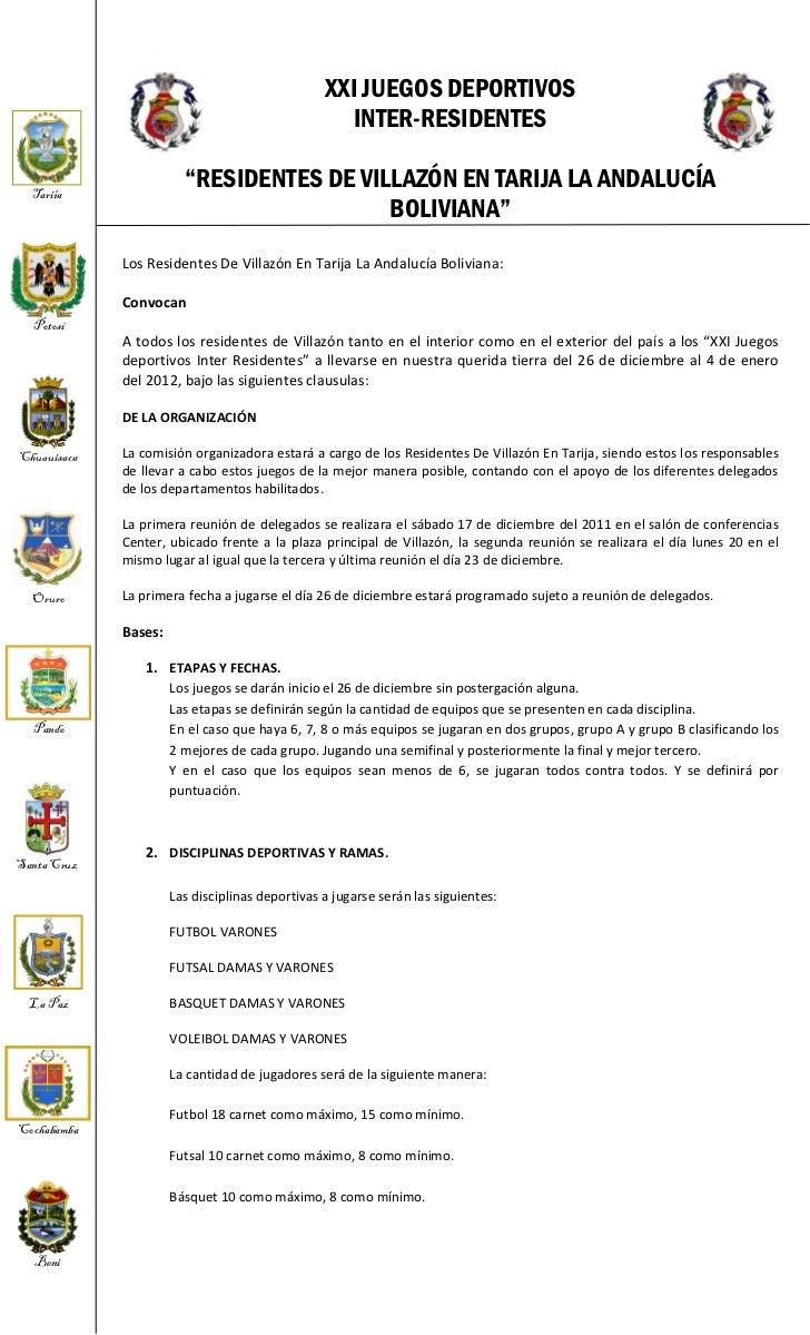 XXI JUEGOS DEPORTIVOS                                                    INTER-RESIDENTES  Tarija                         ...