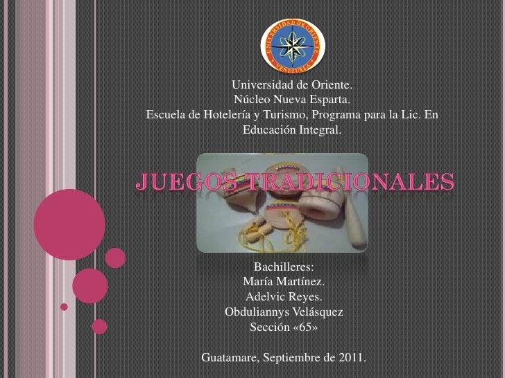 Universidad de Oriente.                Núcleo Nueva Esparta.Escuela de Hotelería y Turismo, Programa para la Lic. En      ...