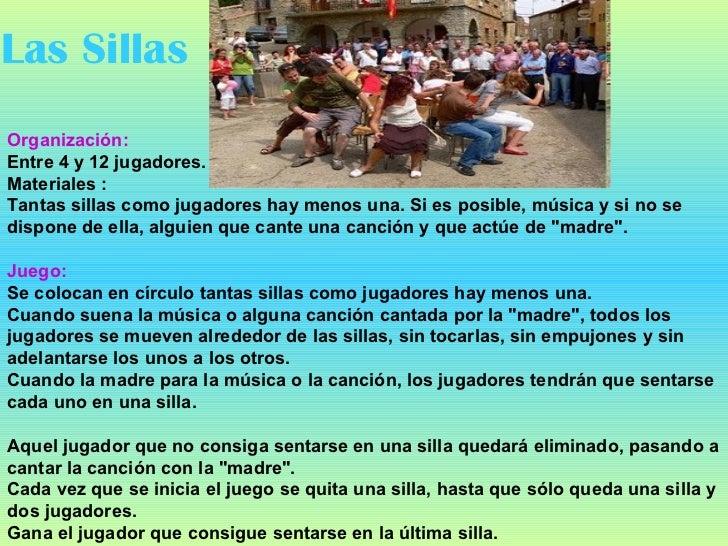 Juegos tradicionales y actividades recreativas for Sillas para jugar a la play
