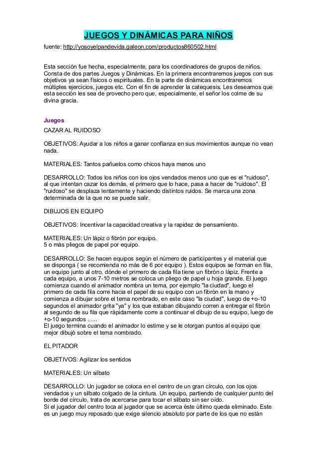 JUEGOS Y DINÁMICAS PARA NIÑOSfuente: http://yosoyelpandevida.galeon.com/productos860502.htmlEsta sección fue hecha, especi...
