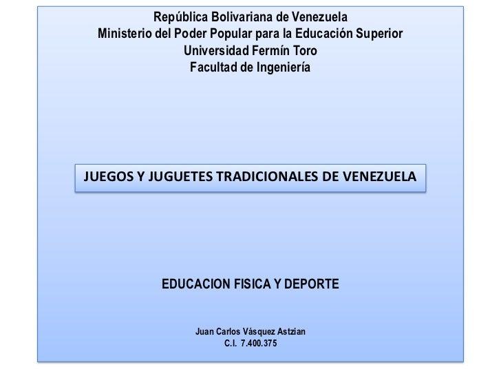 República Bolivariana de Venezuela Ministerio del Poder Popular para la Educación Superior                 Universidad Fer...