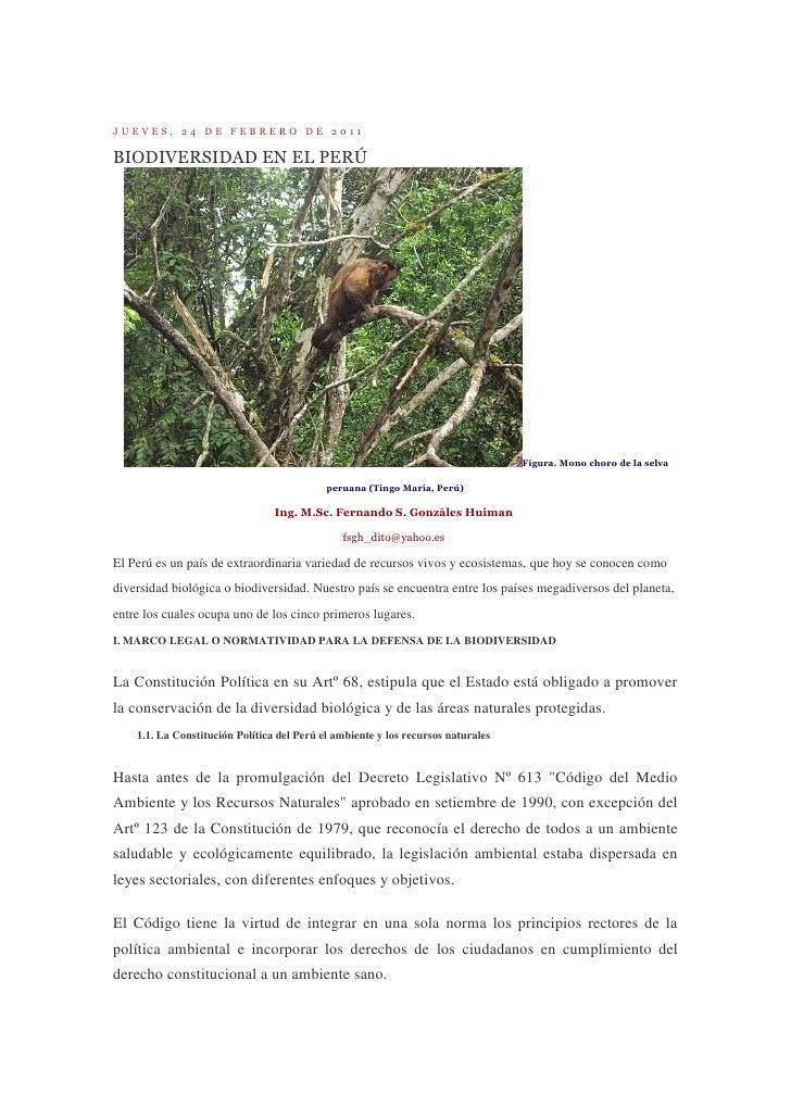 JUEVES, 24 DE FEBRERO DE 2011BIODIVERSIDAD EN EL PERÚ                                                                     ...
