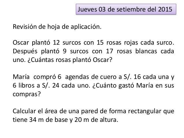 Jueves 03 de setiembre del 2015 Revisión de hoja de aplicación. Oscar plantó 12 surcos con 15 rosas rojas cada surco. Desp...