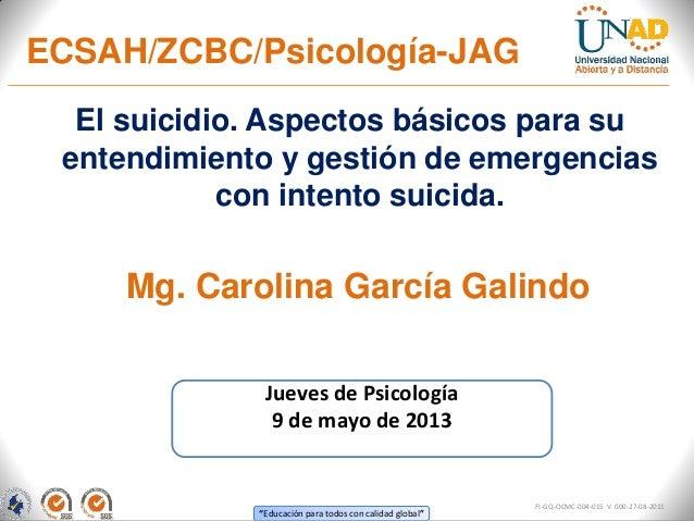"""""""Educación para todos con calidad global""""El suicidio. Aspectos básicos para suentendimiento y gestión de emergenciascon in..."""
