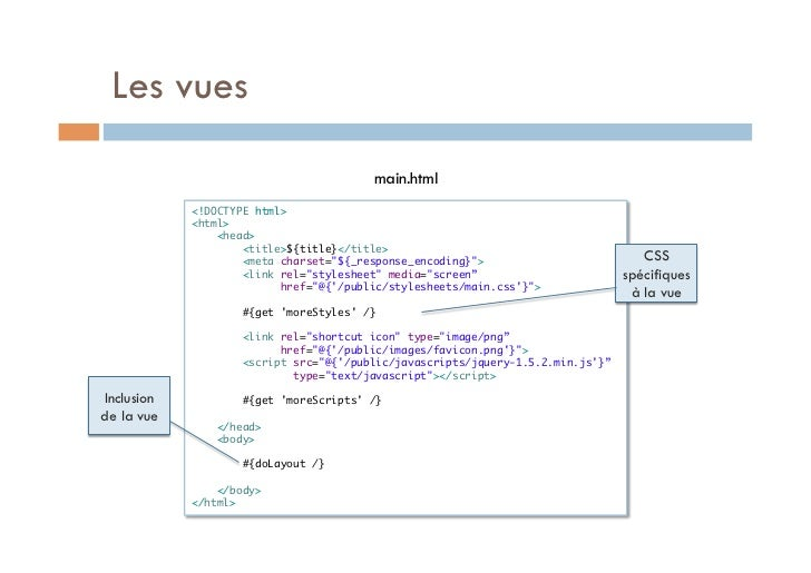 Les vues                                          main.html             <!DOCTYPE html>             <html>              ...