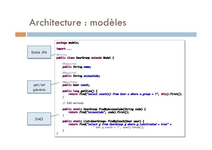 Architecture : modèles             package models;                          import ...Entité JPA                @Entit...