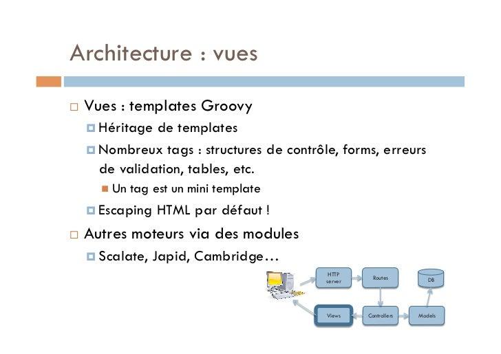 Architecture : vues   Vues : templates Groovy      Héritage de templates      Nombreux tags : structures de contrôle...