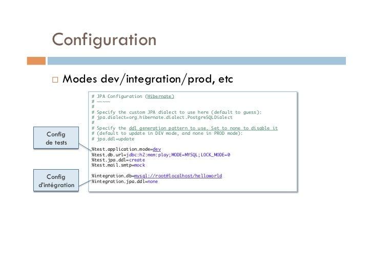 Configuration       Modes dev/integration/prod, etc                # JPA Configuration (Hibernate)                # ~~~...