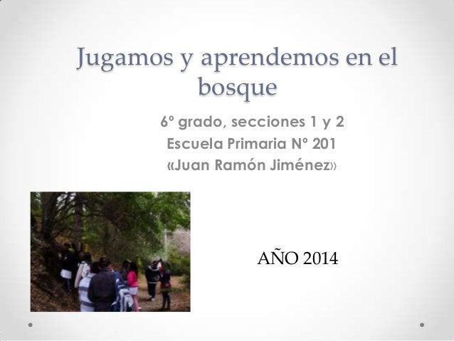Jugamos y aprendemos en el bosque 6º grado, secciones 1 y 2 Escuela Primaria Nº 201 «Juan Ramón Jiménez» AÑO 2014