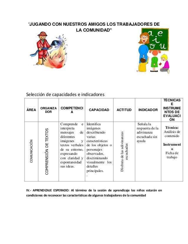 Selección de capacidades e indicadores  N  Comprende e interpreta mensajes de diferentes imágenes y textos verbales de su ...