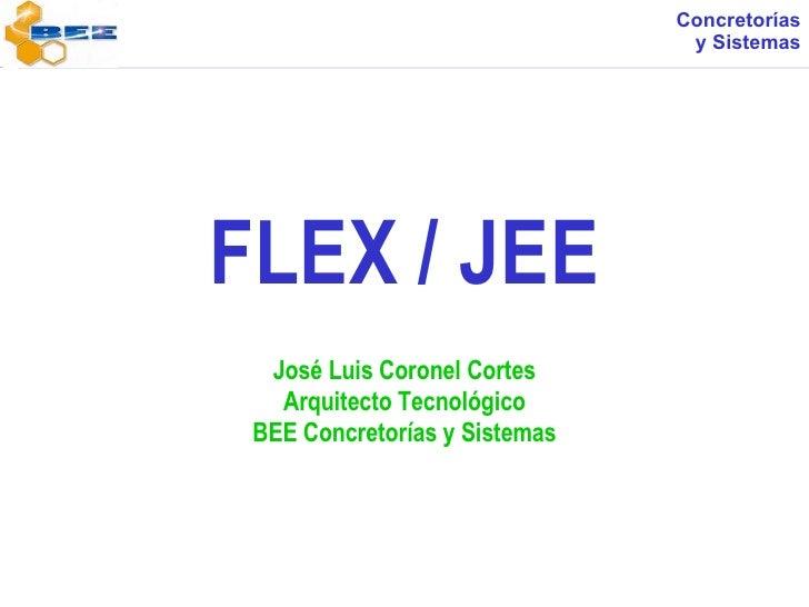 FLEX / JEE José Luis Coronel Cortes Arquitecto Tecnológico BEE Concretorías y Sistemas