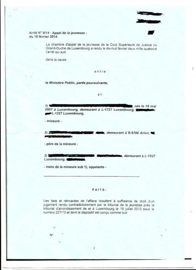 Jugement cours appel protection jeunesse Luxembourg 18 février 2014