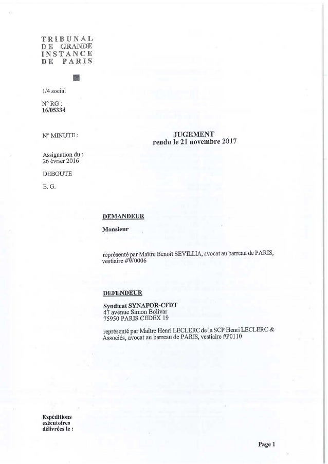 CFDT : jugement exclusion adhérent FN