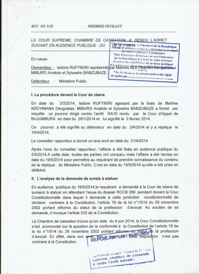 Burundi : le recours en cassation du bâtonnier Rufyikiri rejeté