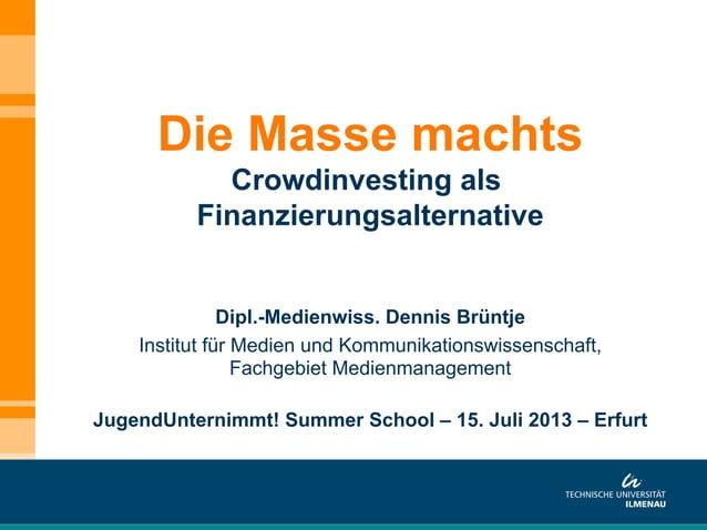 Dipl.-Medienwiss. Dennis Brüntje Institut für Medien und Kommunikationswissenschaft, Fachgebiet Medienmanagement JugendUnt...