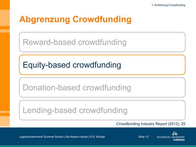 Abgrenzung Crowdfunding Seite 12 Reward-based crowdfunding Equity-based crowdfunding Donation-based crowdfunding Lending-b...