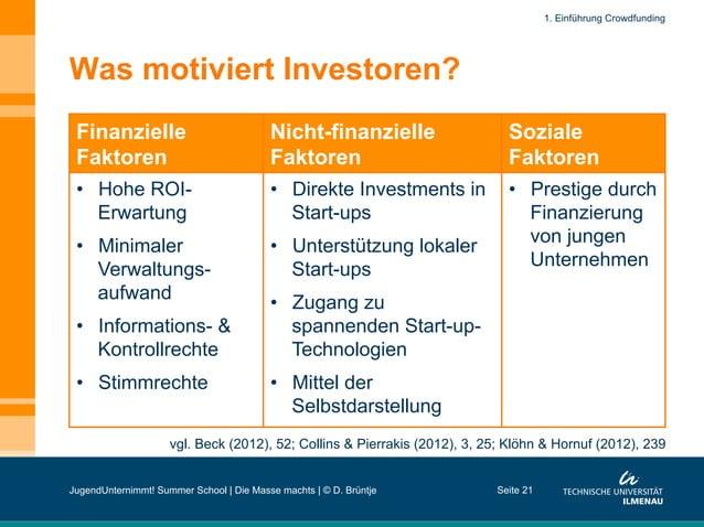 Was motiviert Investoren? Finanzielle Faktoren Nicht-finanzielle Faktoren Soziale Faktoren • Hohe ROI- Erwartung • Minim...