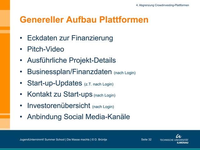 Genereller Aufbau Plattformen • Eckdaten zur Finanzierung • Pitch-Video • Ausführliche Projekt-Details • Businessplan/...