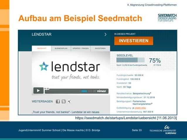 Aufbau am Beispiel Seedmatch Seite 33 https://seedmatch.de/startups/Lendstar/uebersicht [11.06.2013] 4. Abgrenzung Crowdin...