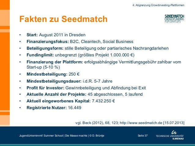 Fakten zu Seedmatch • Start: August 2011 in Dresden • Finanzierungsfokus: B2C, Cleantech, Social Business • Beteiligung...