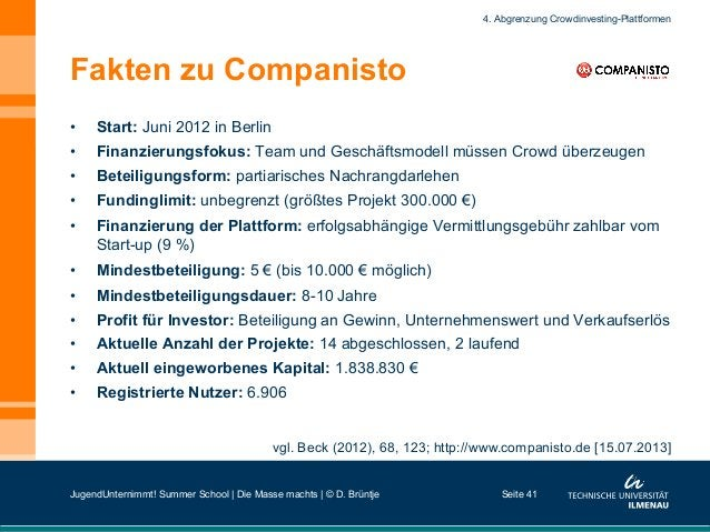 Fakten zu Companisto • Start: Juni 2012 in Berlin • Finanzierungsfokus: Team und Geschäftsmodell müssen Crowd überzeugen...