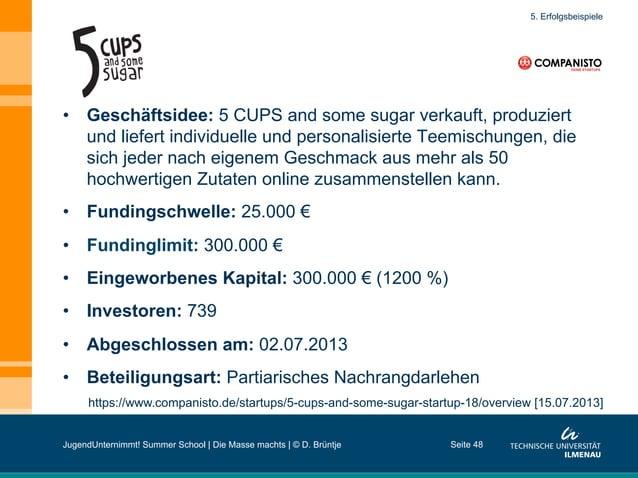 Seite 48 https://www.companisto.de/startups/5-cups-and-some-sugar-startup-18/overview [15.07.2013] 5. Erfolgsbeispiele • ...