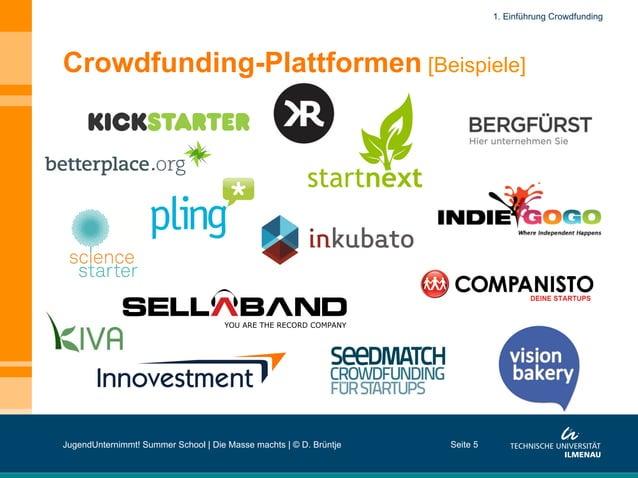 Crowdfunding-Plattformen [Beispiele] Seite 5 1. Einführung Crowdfunding JugendUnternimmt! Summer School | Die Masse machts...