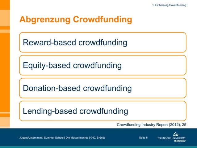 Abgrenzung Crowdfunding Seite 6 Reward-based crowdfunding Equity-based crowdfunding Donation-based crowdfunding Lending-ba...