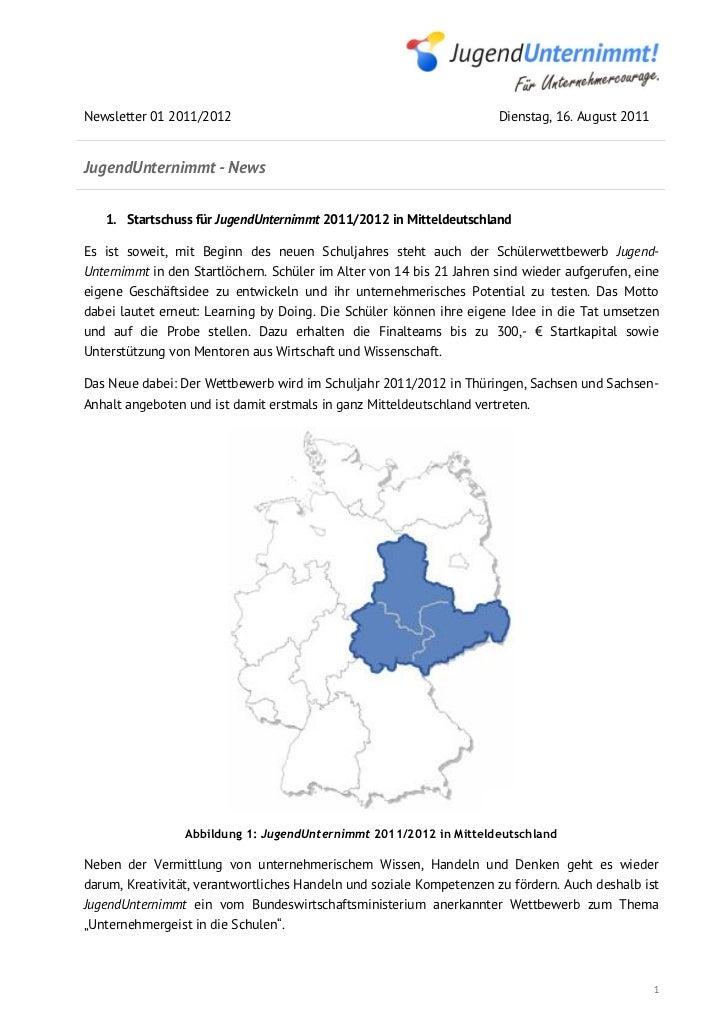 Newsletter 01 2011/2012                                               Dienstag, 16. August 2011JugendUnternimmt - News   1...
