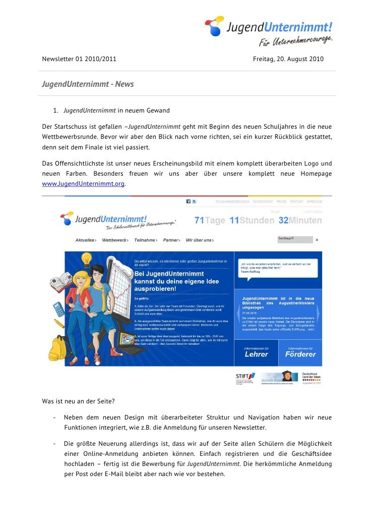 Newsletter 01 2010/2011                                                Freitag, 20. August 2010JugendUnternimmt - News   1...