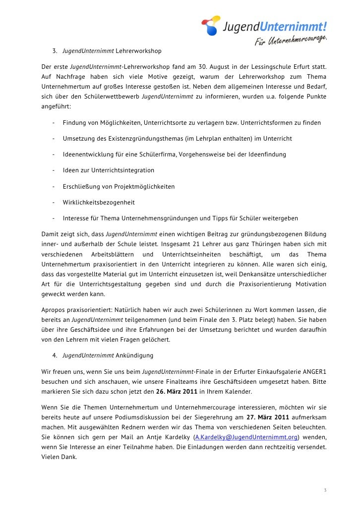 3. JugendUnternimmt LehrerworkshopDer erste JugendUnternimmt-Lehrerworkshop fand am 30. August in der Lessingschule Erfurt...