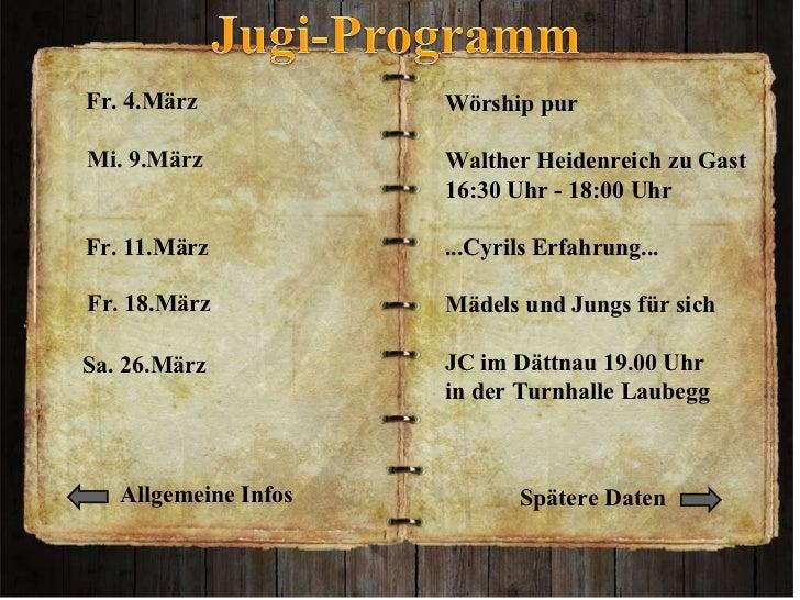 Wörship pur  Walther Heidenreich zu Gast  16:30 Uhr - 18:00 Uhr ...Cyrils Erfahrung...   Mädels und Jungs für sich  JC im...
