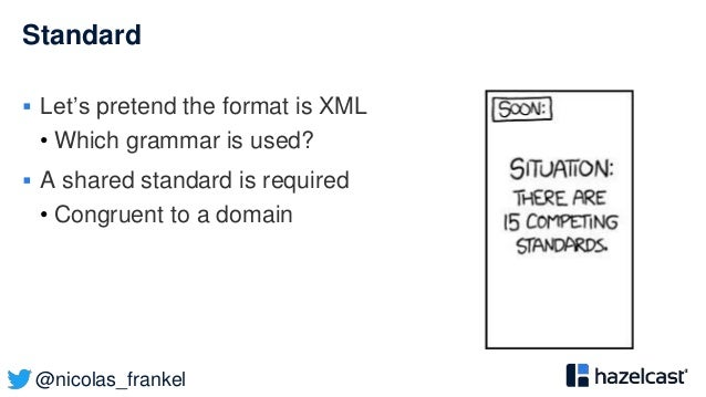@nicolas_frankel Standard  Let's pretend the format is XML • Which grammar is used?  A shared standard is required • Con...