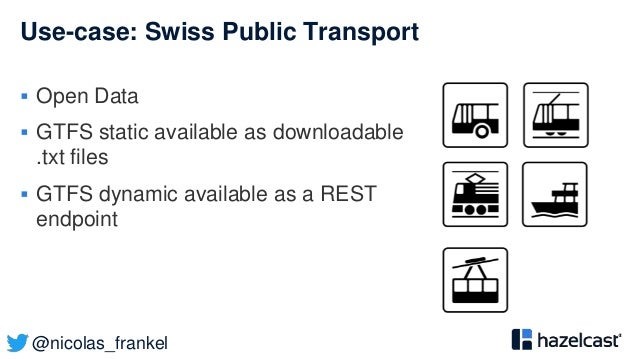 @nicolas_frankel Use-case: Swiss Public Transport  Open Data  GTFS static available as downloadable .txt files  GTFS dy...