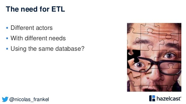 @nicolas_frankel The need for ETL  Different actors  With different needs  Using the same database?