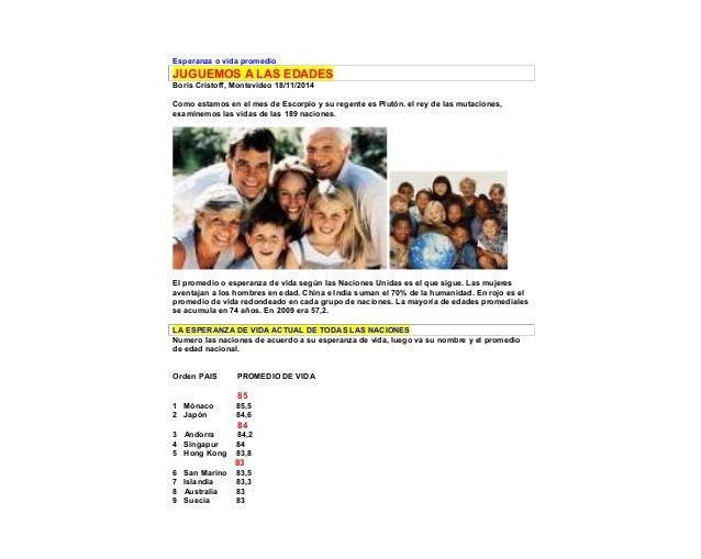 Esperanza o vida promedio JUGUEMOS A LAS EDADES Boris Cristoff, Montevideo 18/11/2014 Como estamos en el mes de Escorpio y...