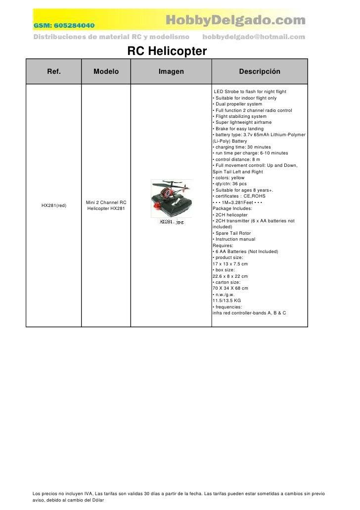 RC Helicopter       Ref.                  Modelo                         Imagen                                Descripción...