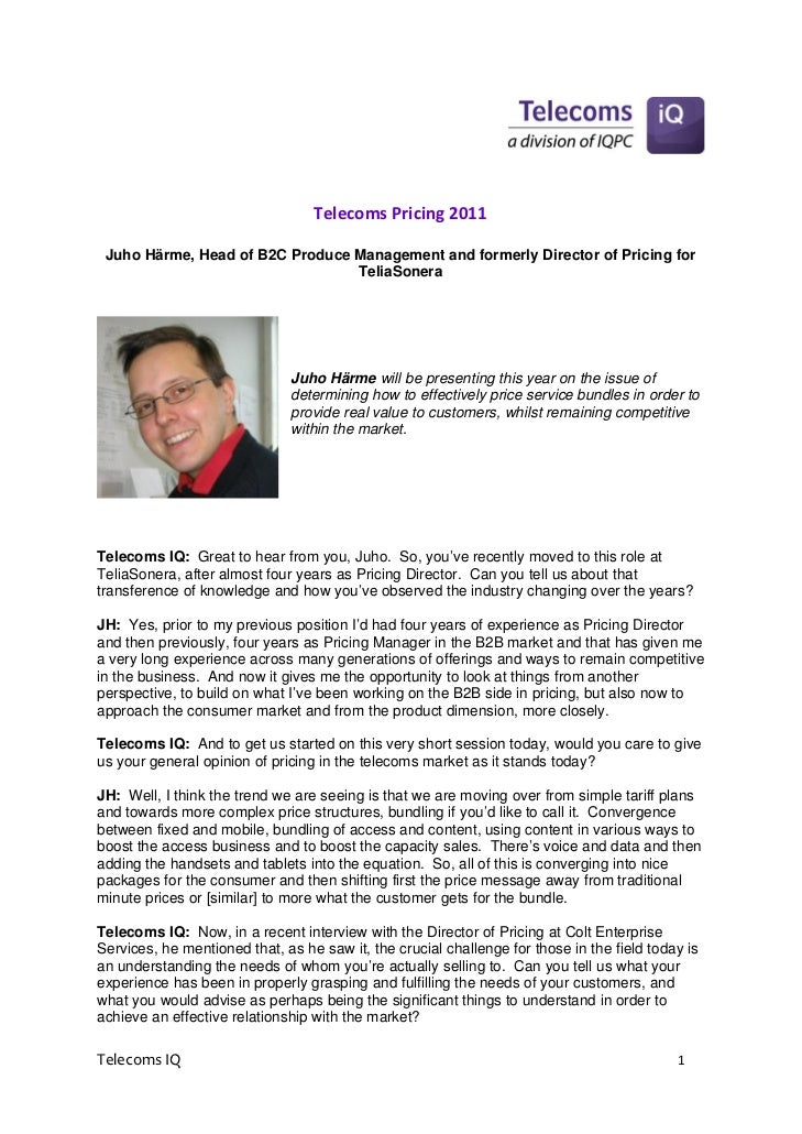 TelecomsPricing2011    Juho Härme, Head of B2C Produce Management and formerly Director of Pricing for                 ...