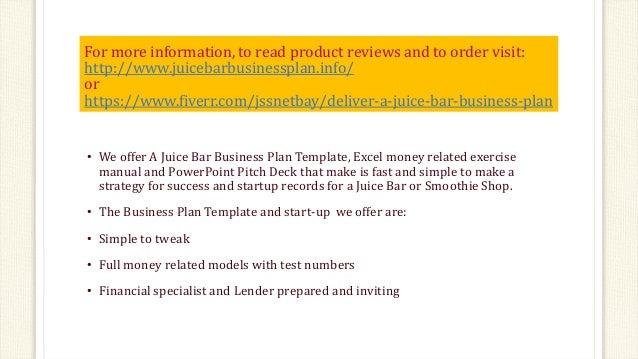 juice bar business plan template rh slideshare net Parts Manual User Manual