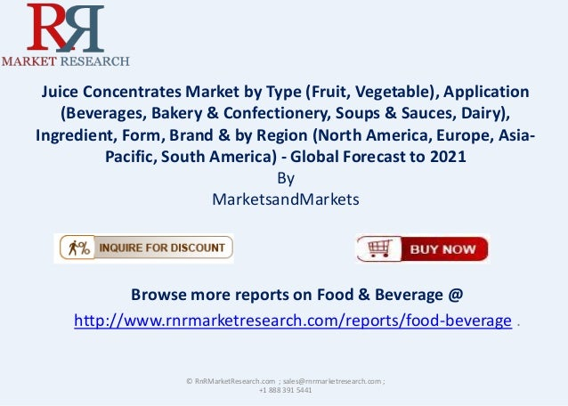 Juice Concentrates Market by Type (Fruit, Vegetable), Application (Beverages, Bakery & Confectionery, Soups & Sauces, Dair...
