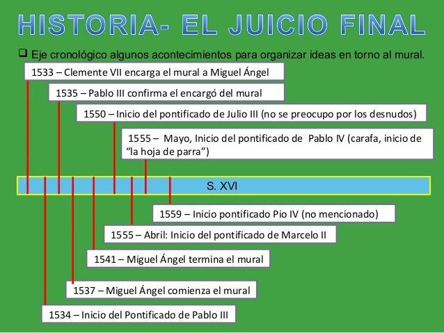 S. XVI  Eje cronológico algunos acontecimientos para organizar ideas en torno al mural. 1533 – Clemente VII encarga el mu...