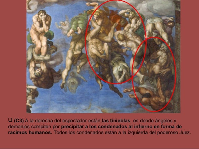  (C3) A la derecha del espectador están las tinieblas, en donde ángeles y demonios compiten por precipitar a los condenad...