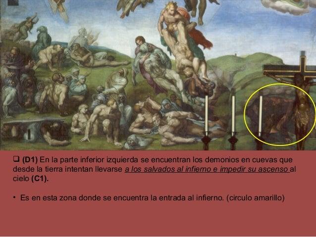  (D1) En la parte inferior izquierda se encuentran los demonios en cuevas que desde la tierra intentan llevarse a los sal...