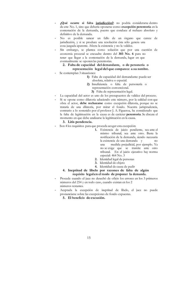 15 - ¿Qué ocurre si falta jurisdicción?: no podría considerarse dentro de este No. 1, sino que debería oponerse como excep...
