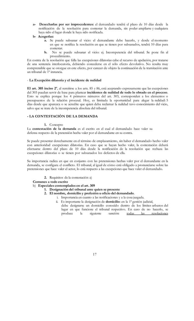 17 a- Desecharlas por ser improcedentes: el demandado tendrá el plazo de 10 días desde la notificación de la resolución pa...