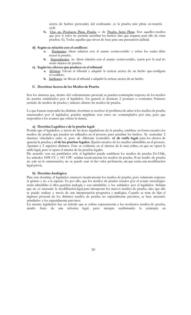 30 acerca de hechos personales del confesante: es la prueba más plena en materia civil) b. Que no Producen Plena Prueba o ...