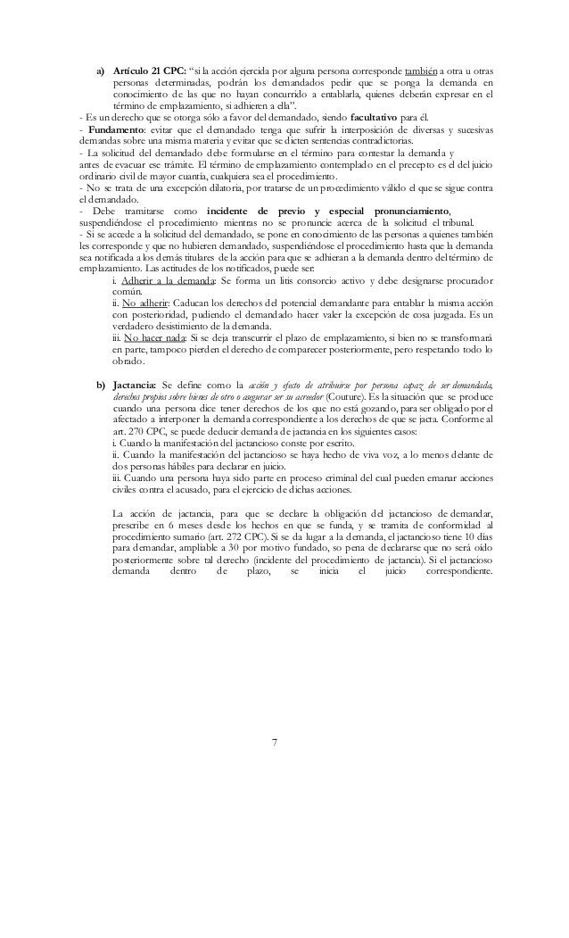 """7 a) Artículo 21 CPC: """"si la acción ejercida por alguna persona corresponde también a otra u otras personas determinadas, ..."""