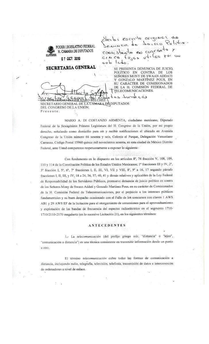 2                                                              SE PRESENTA DENUNCIA DE JUICIO POLÍTICO EN                 ...