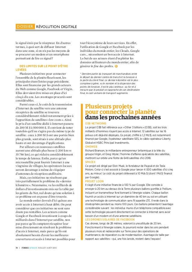 L'internet par satellite pour éradiquer la fracture numérique - Diane Lawson pour Forbes Afrique Juillet/Aout 2015 Slide 3